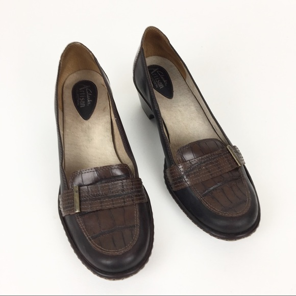 Clarks Shoes - Clark's Brown Leather Loafers Heels Shoes